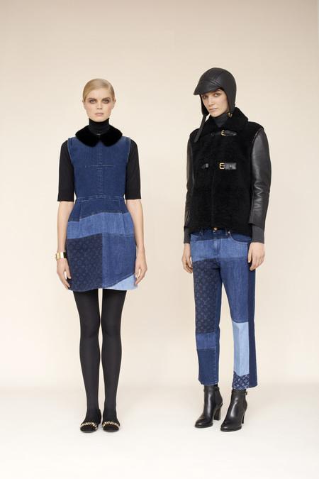 Couro em detalhes de jaqueta do desfile da Louis Vuitton