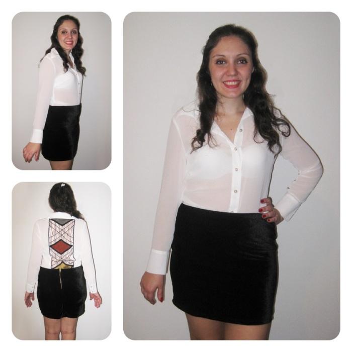 Look Saia Black Velvet + Camisa Pearl