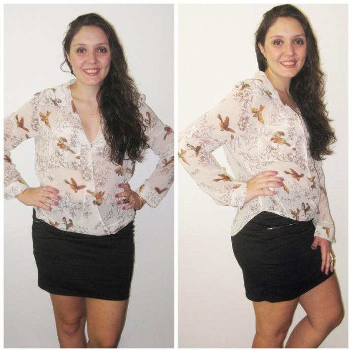 Look Camisa Bird + Saia Justine da Loja Chic Boom!