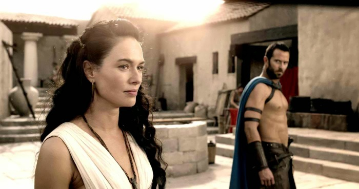 Lena Headey stars as Queen Gorgo and Sullivan Stapleton stars as Themistocles in Warner Bros. Pictures' 300 Rise of an Empire (2014)
