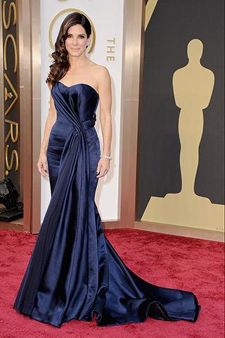 Sandra Bullock, in Alexander McQueen,
